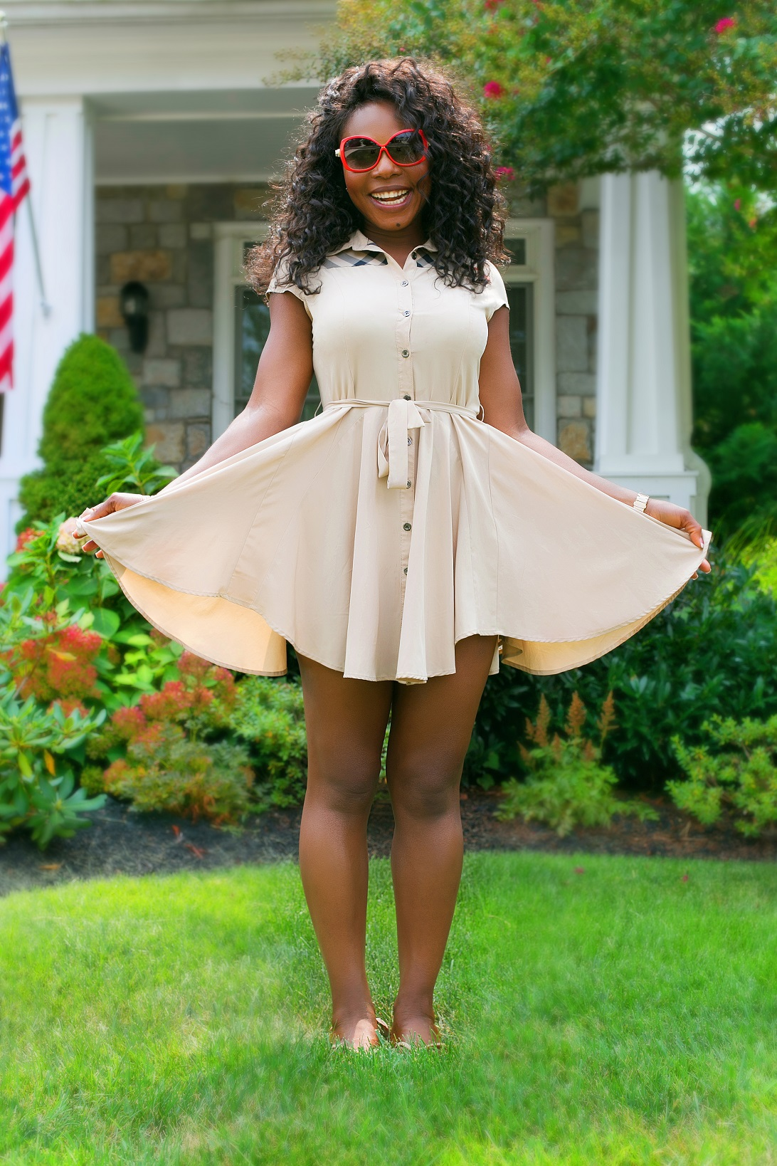 flirty short dress nude dress Thelma Okoro