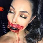 Stitched Mouth Blood Halloween Creepy Look
