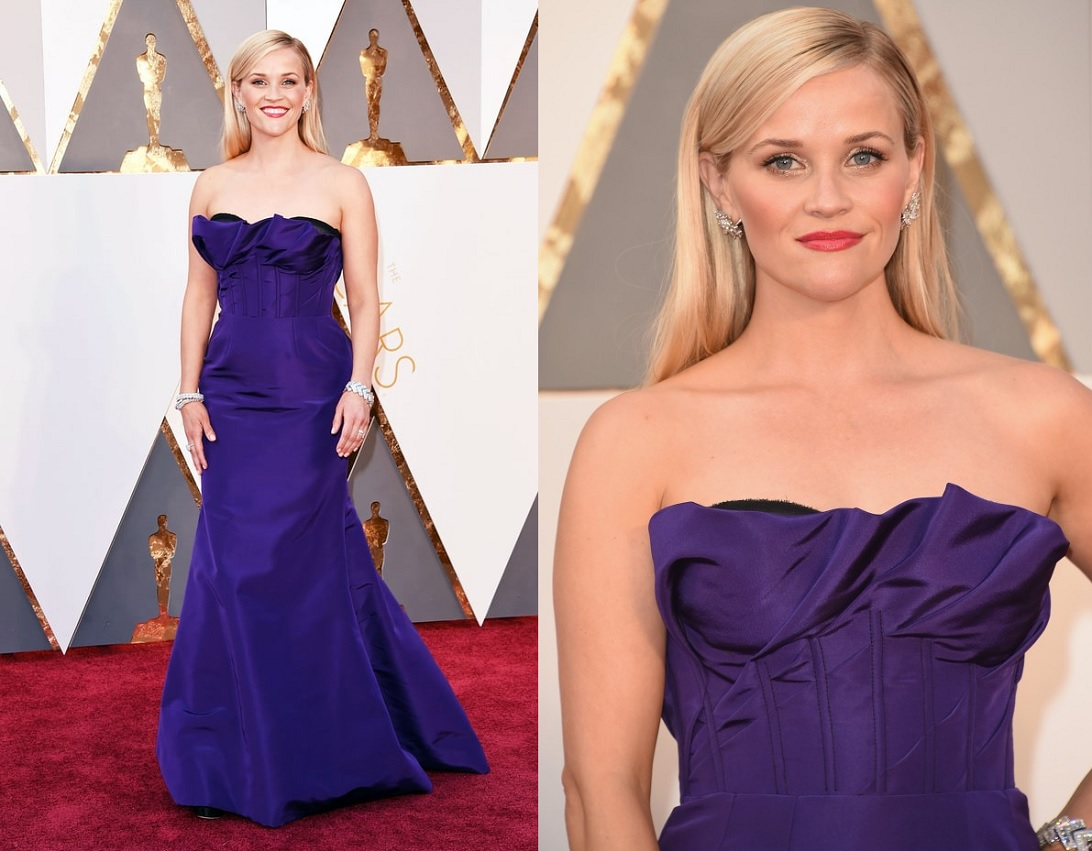 Oscars 2016 Best Dressed Reese Witherspoon Wearing Purple Dress