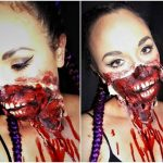 Tear Off Mouth Bloody Halloween MakeUp Look