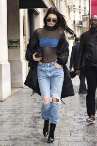 Kendall Jenner in Sexy Street Style Ripped Jeans
