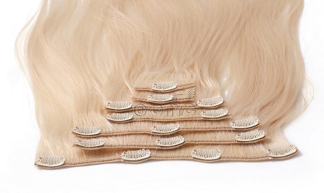7 Piece Clip In Silky Straight Blond 613 Hair