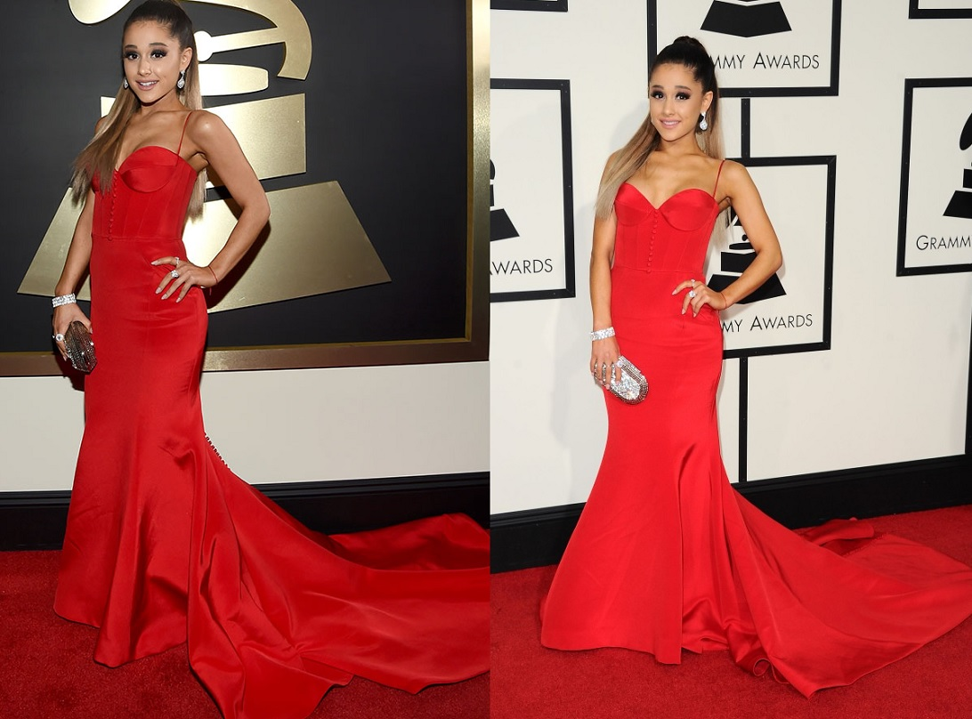 Ariana Grande Red Gown Best Dressed Celebrities At Grammy 2016
