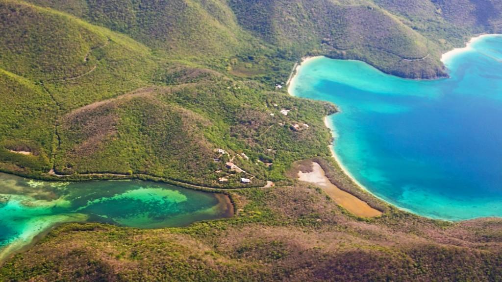 Aerial View of BVI scrub island British virgin islands