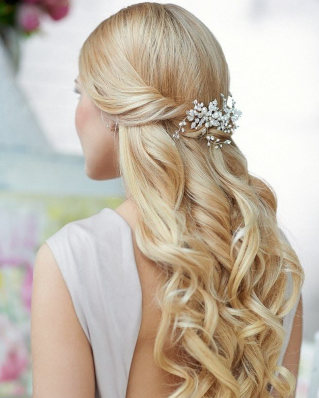 Half Up Half Down Wedding Bridal Hairstyle