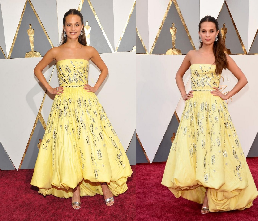 Oscars 2016 Best Dressed Alicia Vikander Yellow Dress