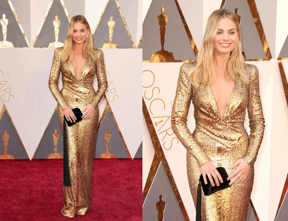 Oscars 2016 Best Dressed Margot Robbie Gold Dress