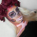 Red Rose Skeleton Pretty Halloween MakeUp Look