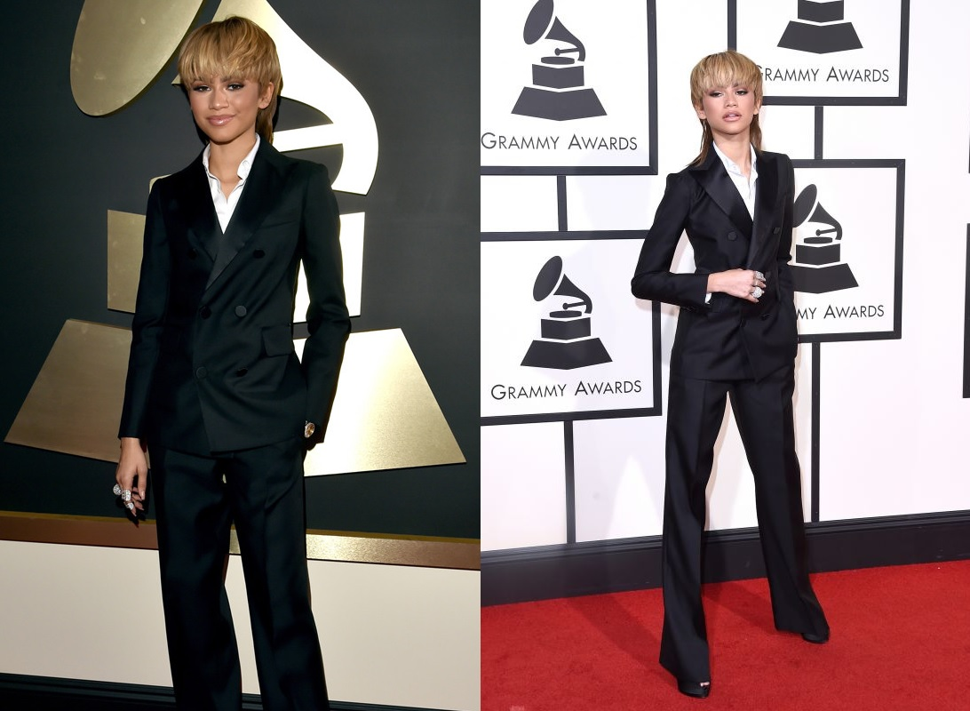 Zendaya Black Suit Best Dressed Celebrities At Grammy 2016