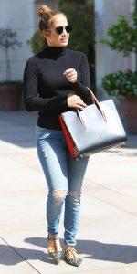 Jennifer Lopez Looks Sophisticated in Ripped Denim celebrity street fashion
