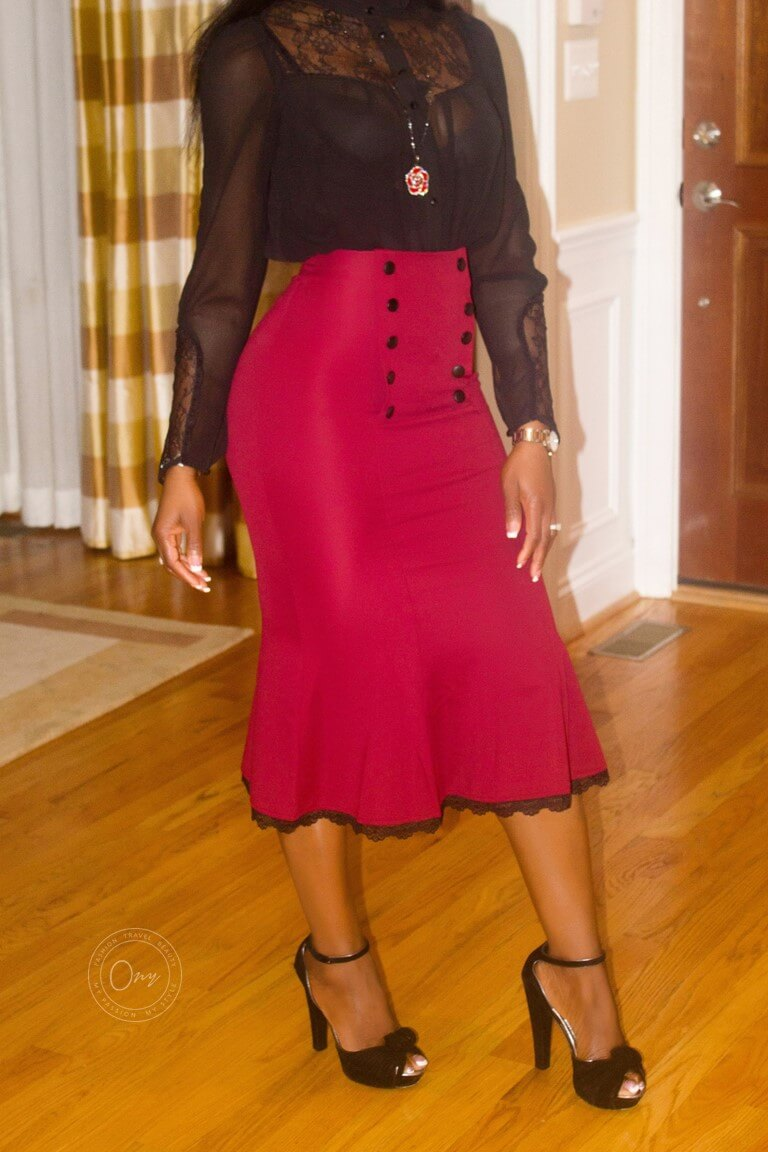 What I'm Wearing Red Fishtail Midi Skirt Featured