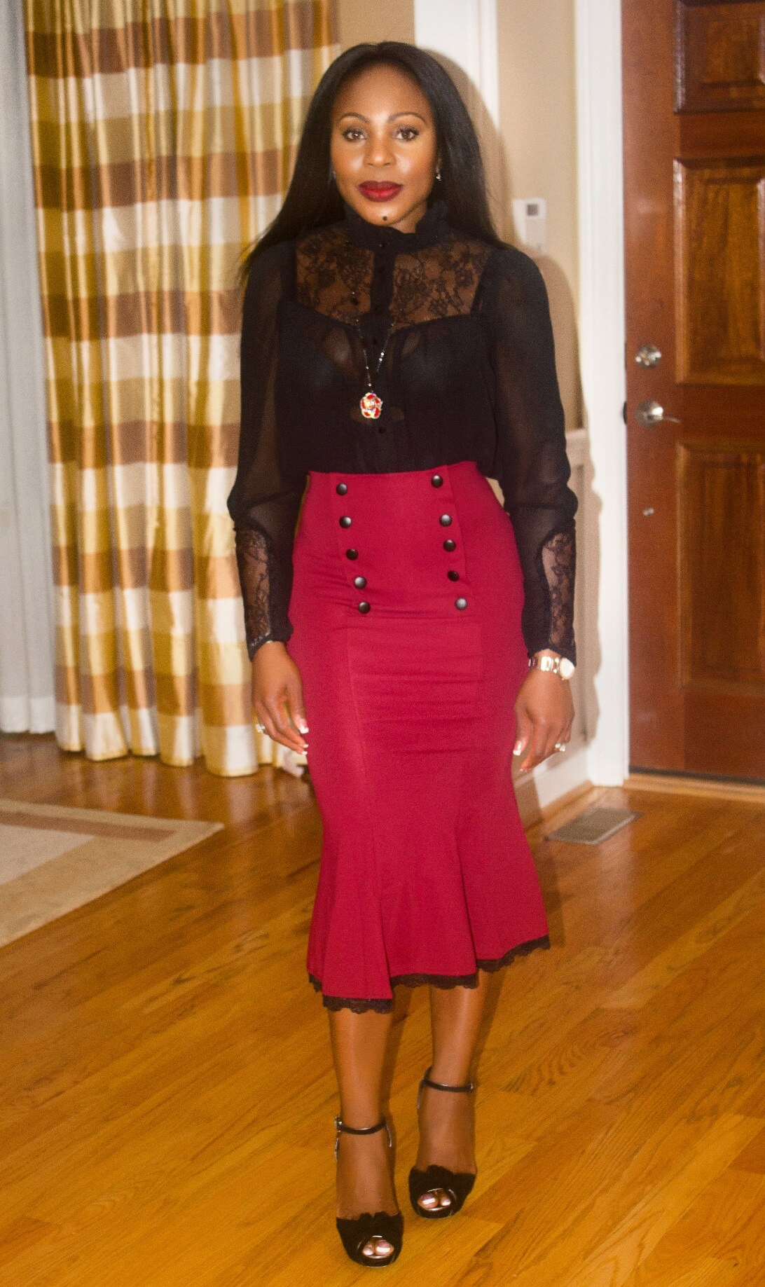 What I'm Wearing Red Fishtail Midi Skirt