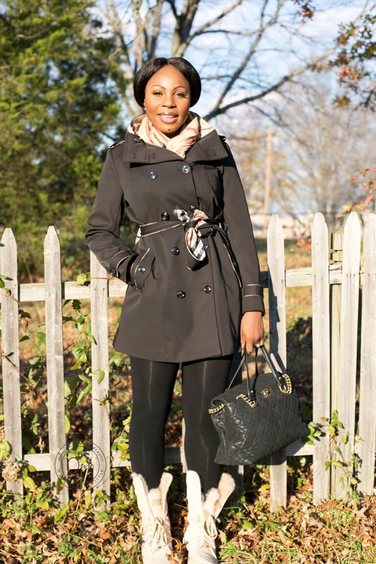 Burberry Trench Coat, Black Burberry Trench Coat, Burberry Scarf, Louis Vuitton Boots, Chanel Hand Bag