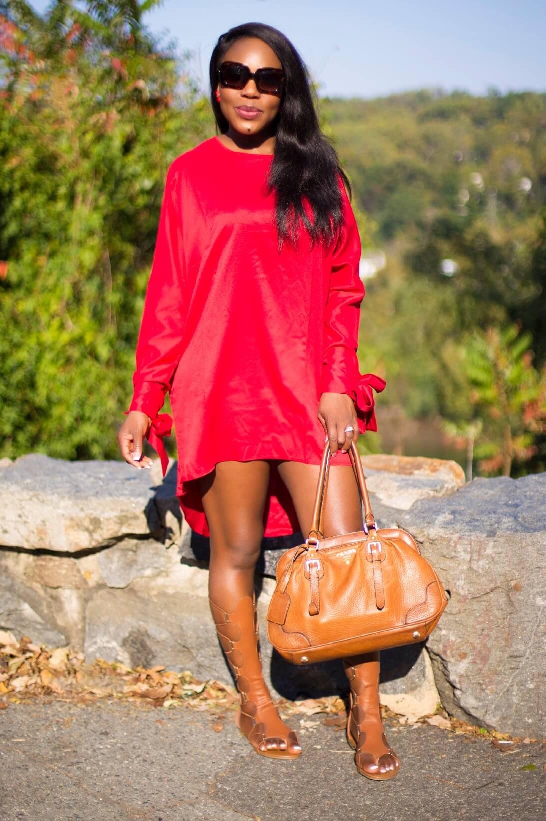 High Low Casual Loose T Shirt Dress Knee High Thong Gladiator Sandals Brown Prada Hand Bags