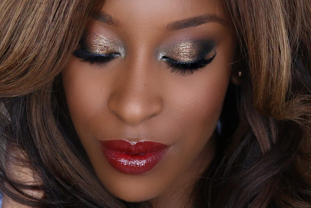 Gold Eyes And Red Lips-easy holiday makeup looks
